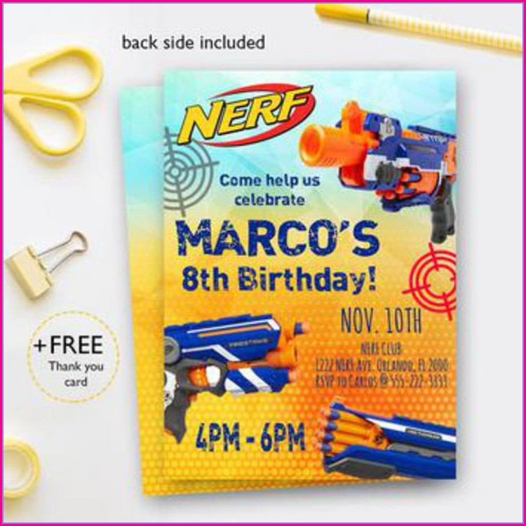 Nerf Gun Birthday Party Invitations