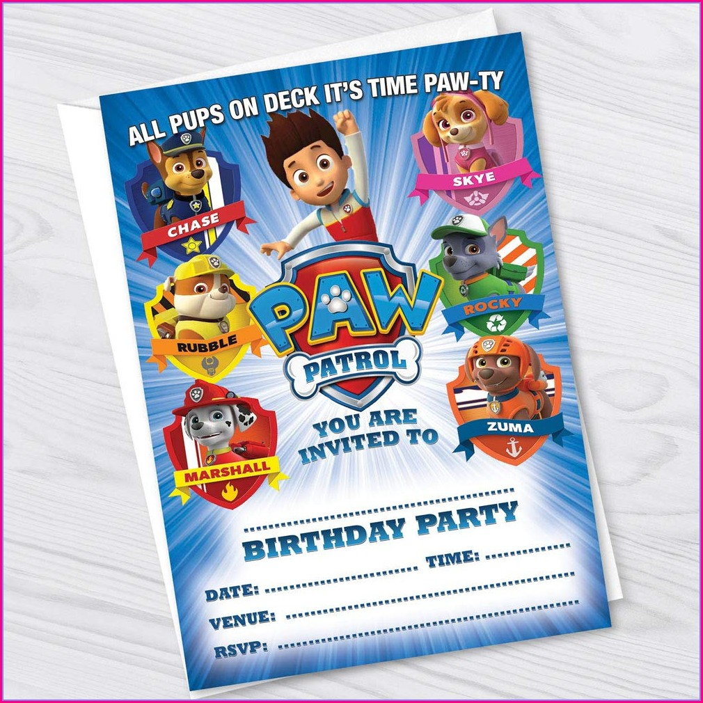 Paw Patrol Invitations Girl