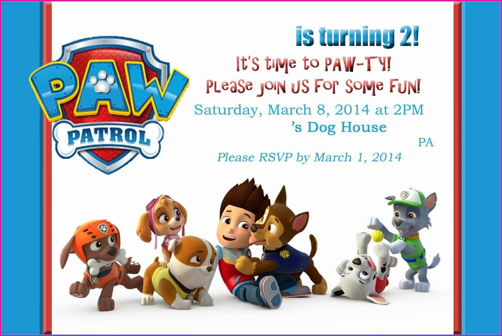 Paw Patrol Party Invitation Template Free