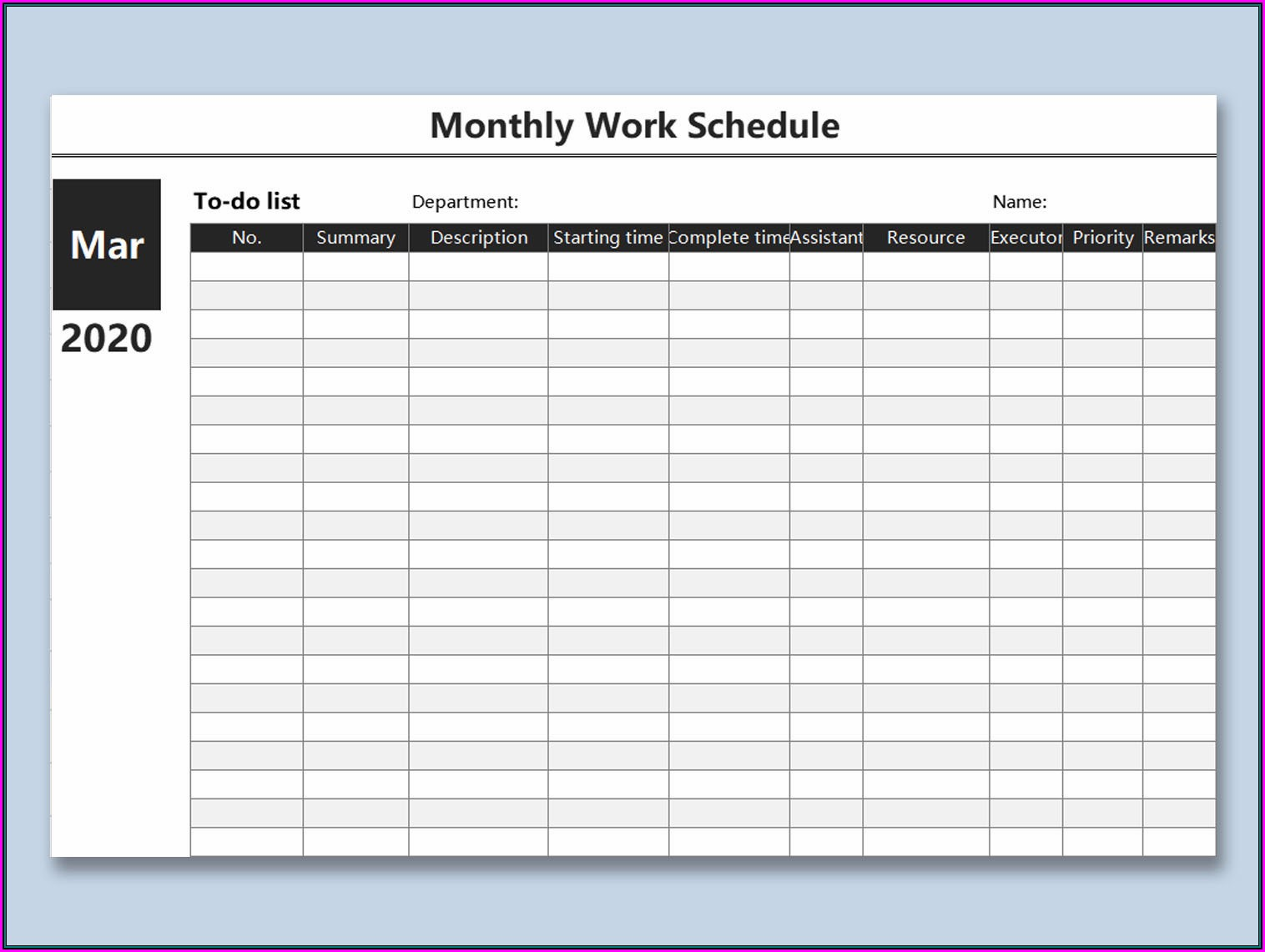 Pdf Printable Free Weekly Employee Work Schedule Template