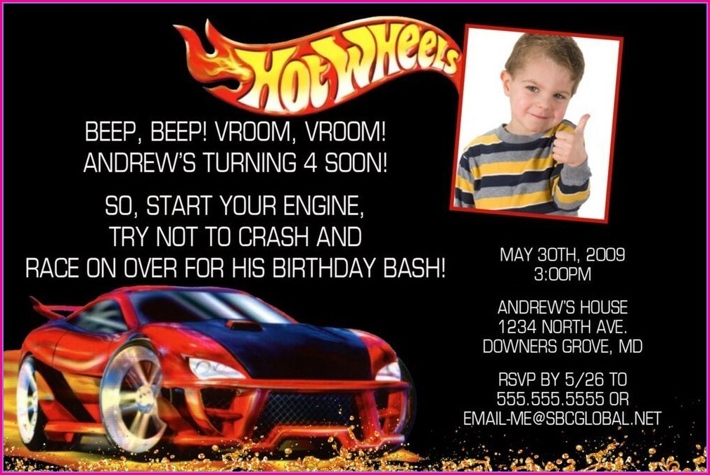 Personalized Hot Wheels Birthday Invitation