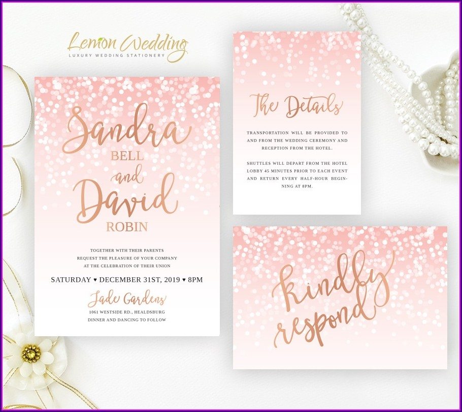 Pink White And Gold Wedding Invitations