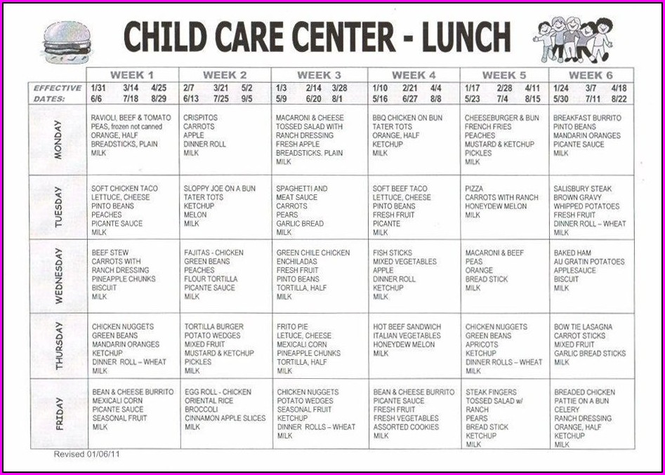 Preschool Weekly School Lunch Menu Template