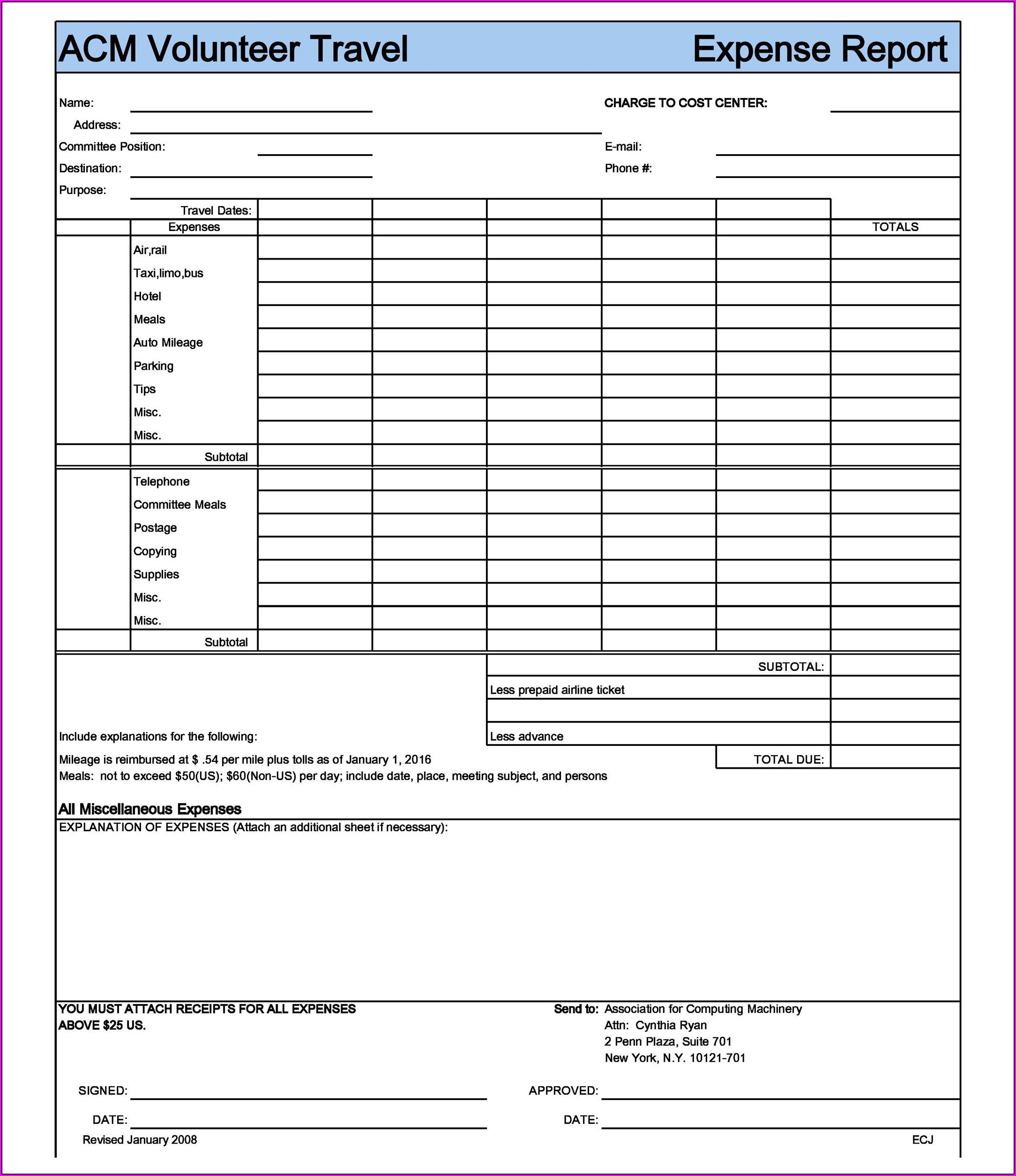 Printable Free Expense Report Template