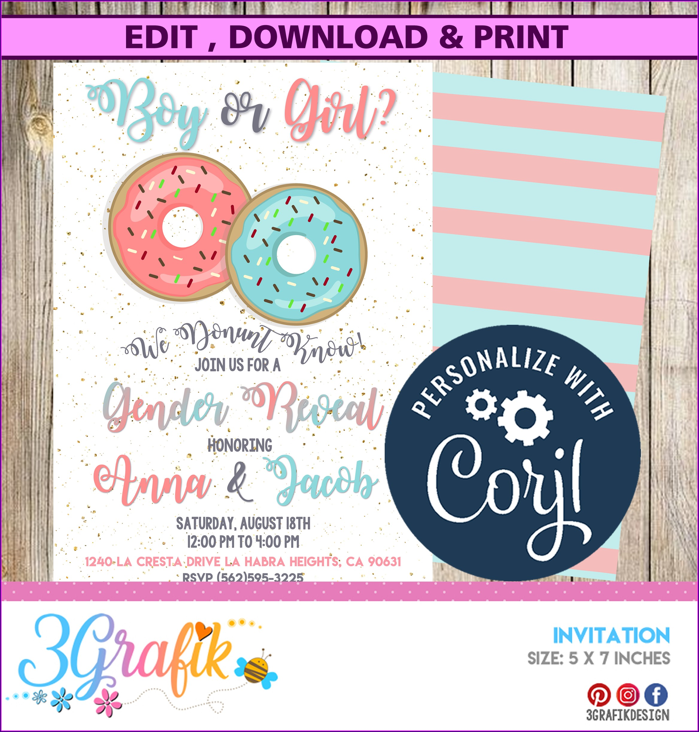 Printable Gender Reveal Invitation Template