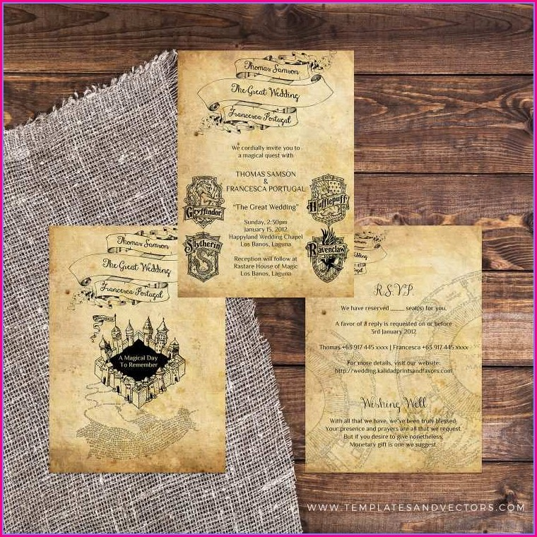 Printable Harry Potter Wedding Invitation Template Free