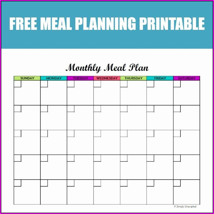 Printable Meal Plan Calendar Template