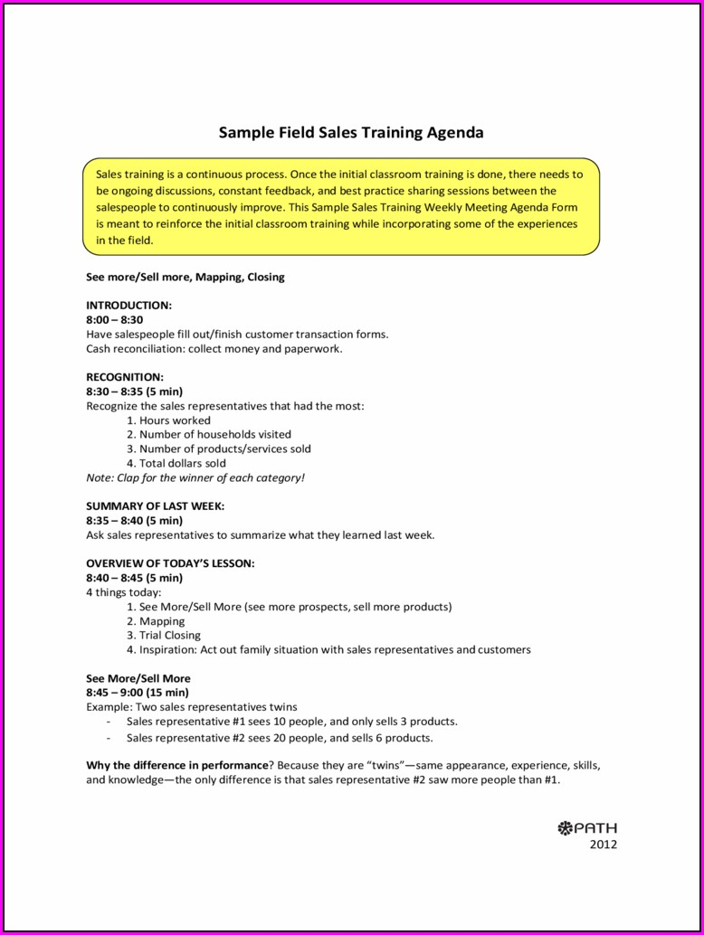 Printable Sales Meeting Agenda Template