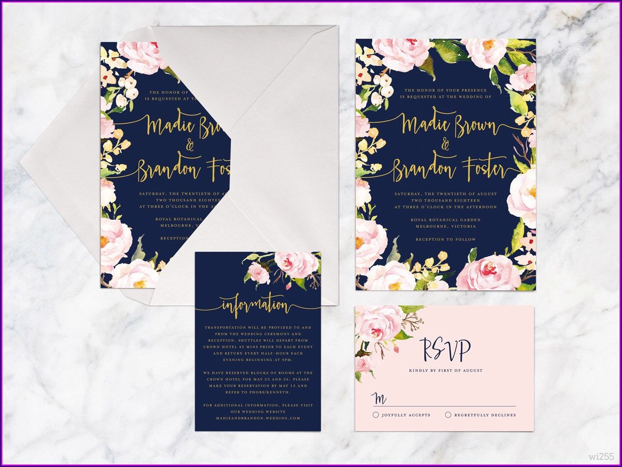Royal Blue And Rose Gold Wedding Invitations