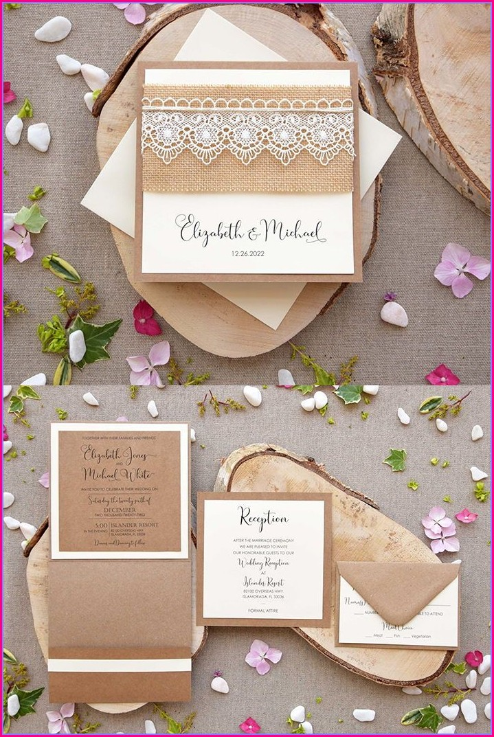 Rustic Pocketfold Wedding Invitations