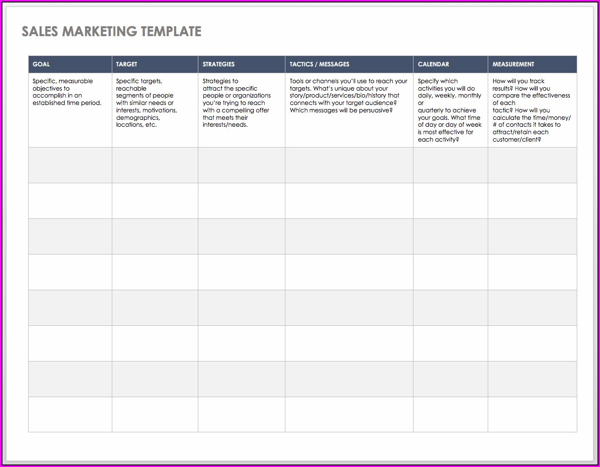 Sales Call Plan Template Free