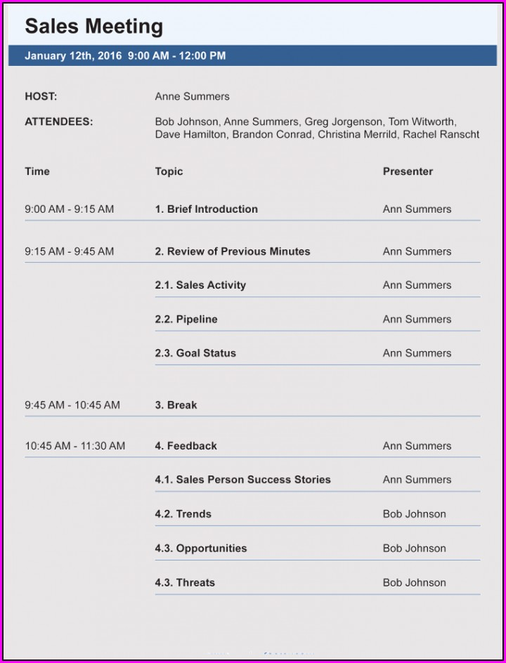 Sales Meeting Agenda Template Free