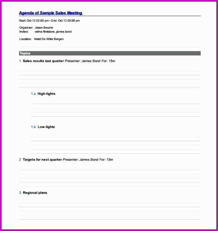 Sales Meeting Agenda Template Word