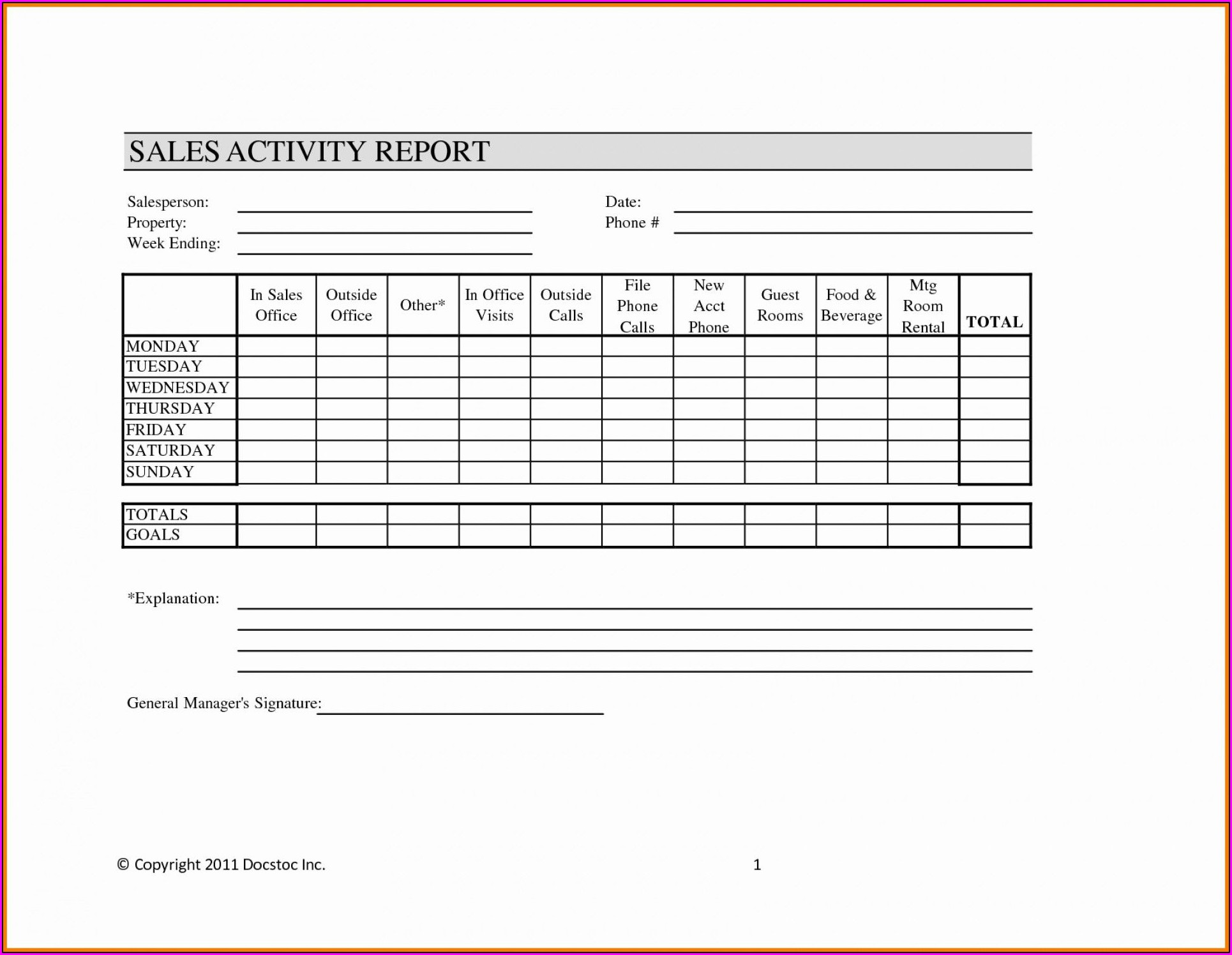 Salesman Weekly Sales Activity Report Template