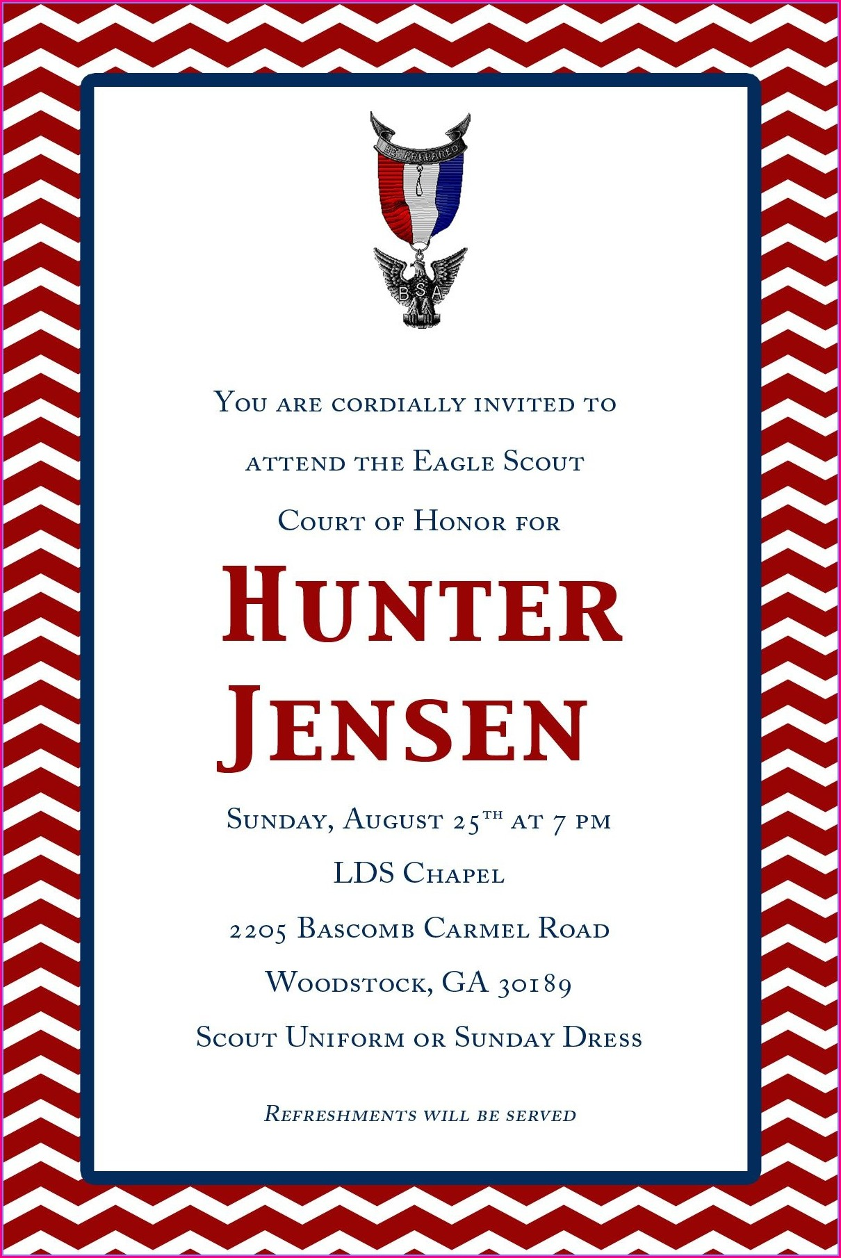 Sample Eagle Court Of Honor Invitations