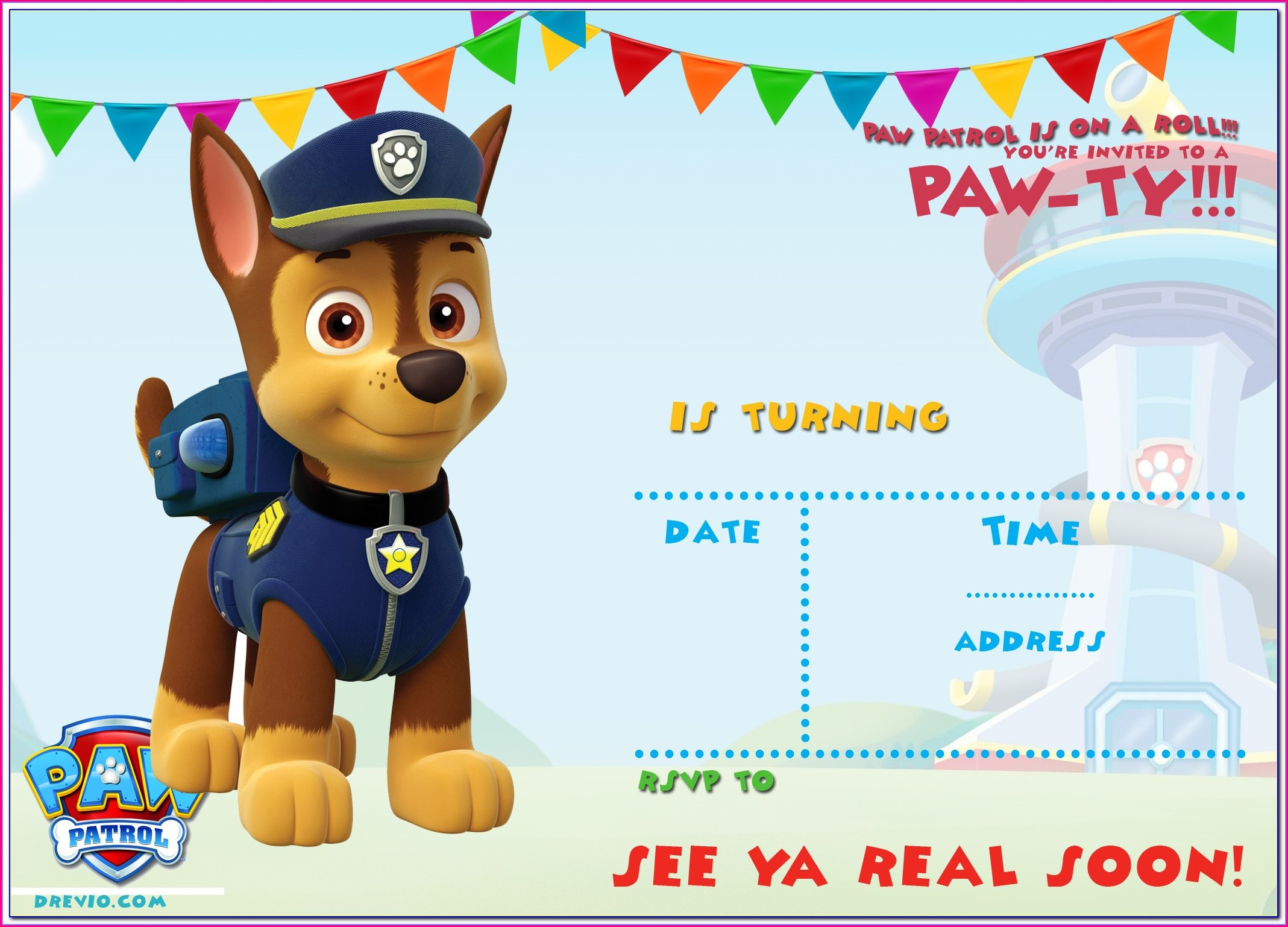 Skye Paw Patrol Invitation Template Free