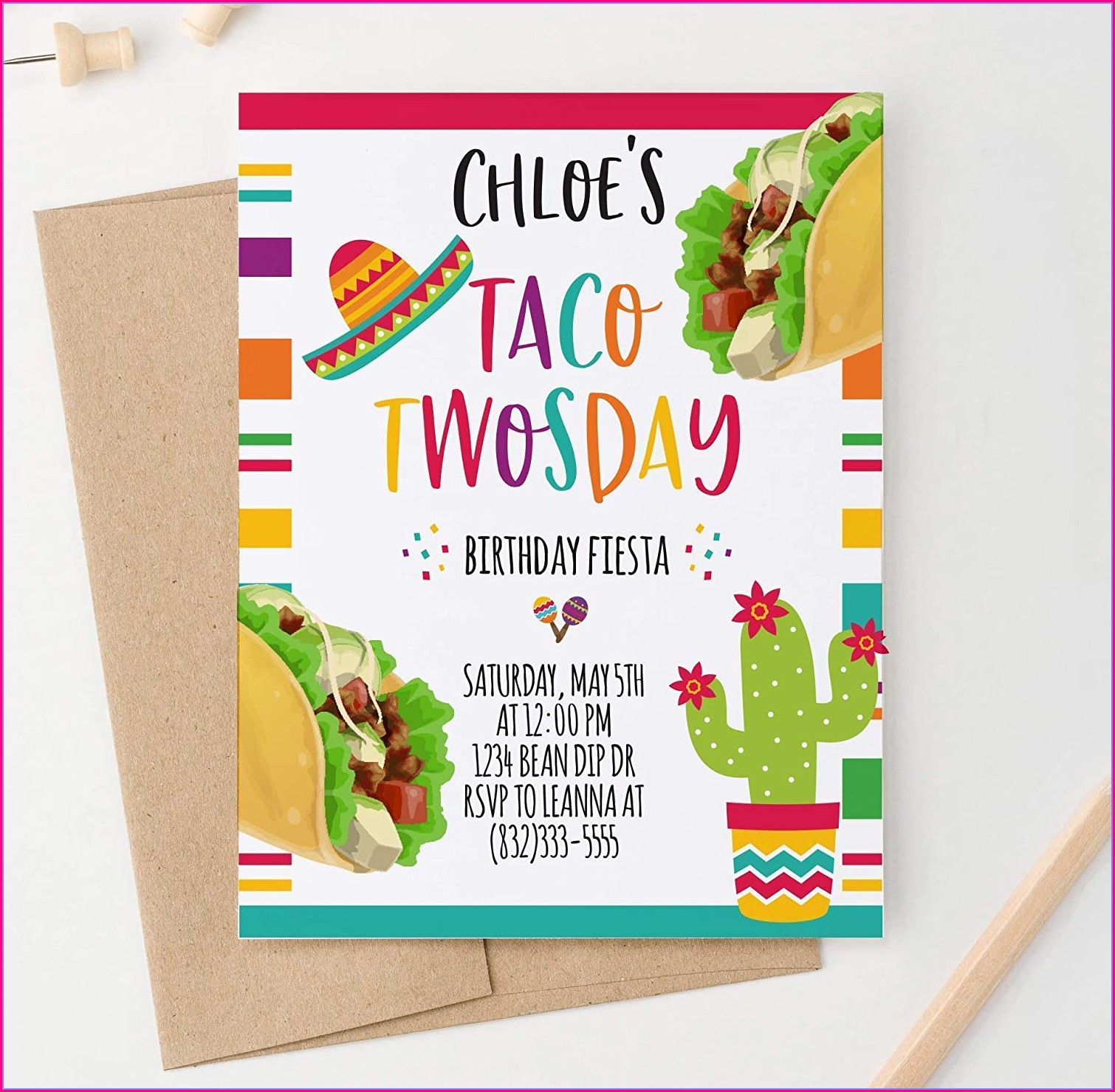Taco Twosday Birthday Invitations