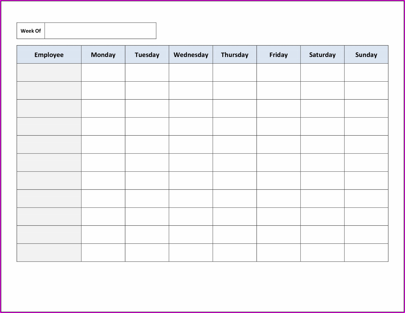 Timetable Printable Free Weekly Employee Work Schedule Template