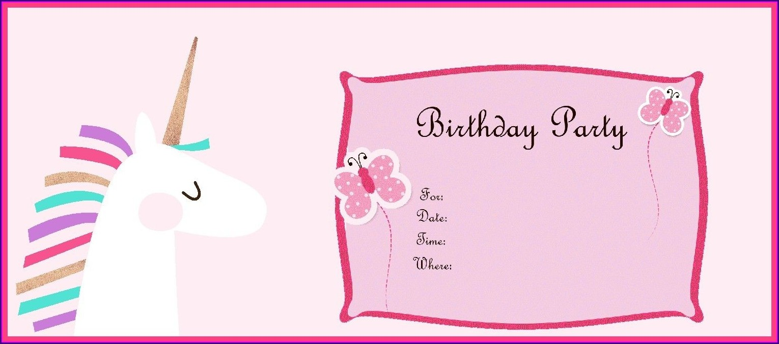 Unicorn Birthday Invitations Free Online