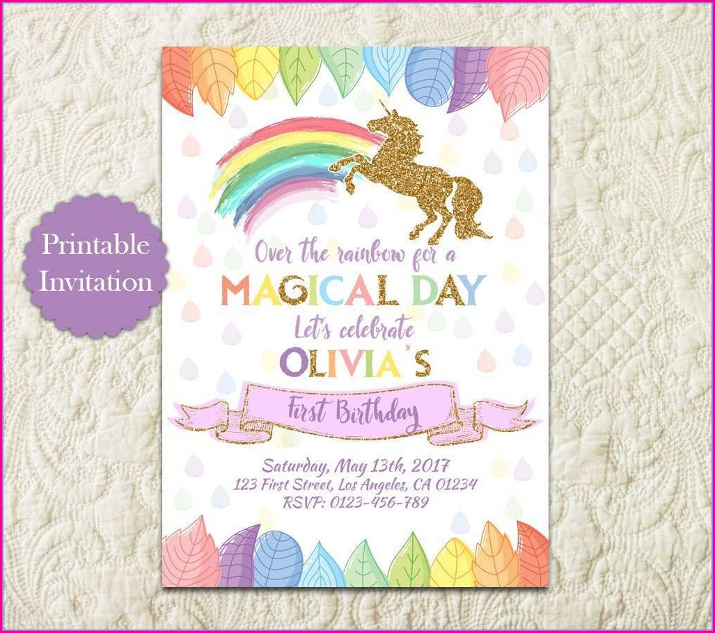 Unicorn Invitation Card Template Free