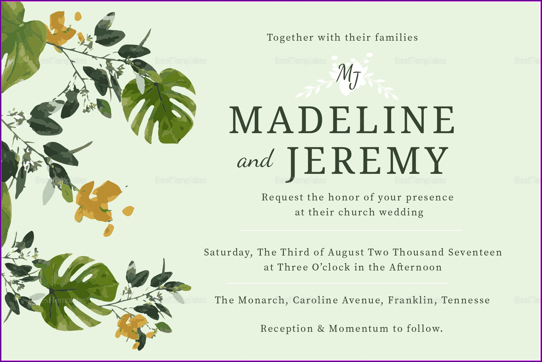 Wedding Invitation Card Background Landscape