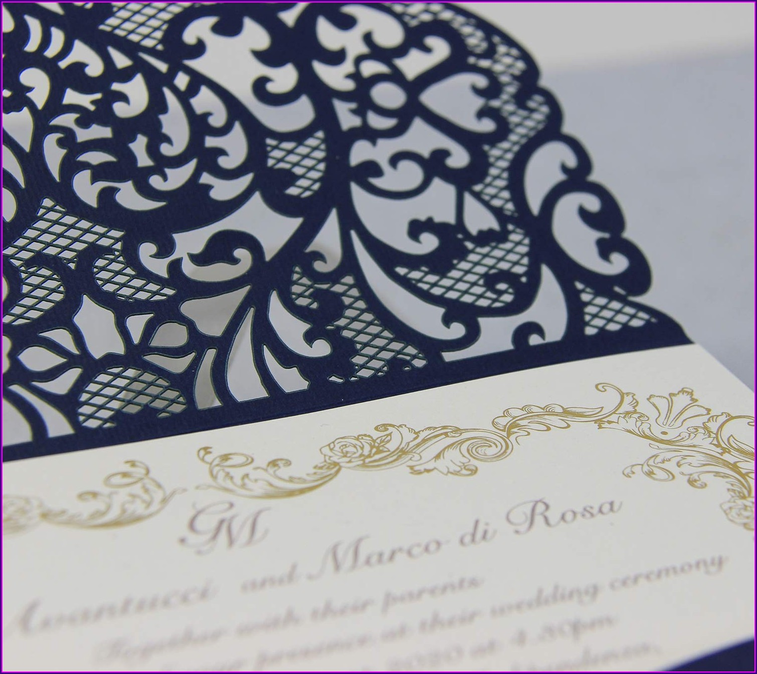Wedding Invitation Sample Navy Blue