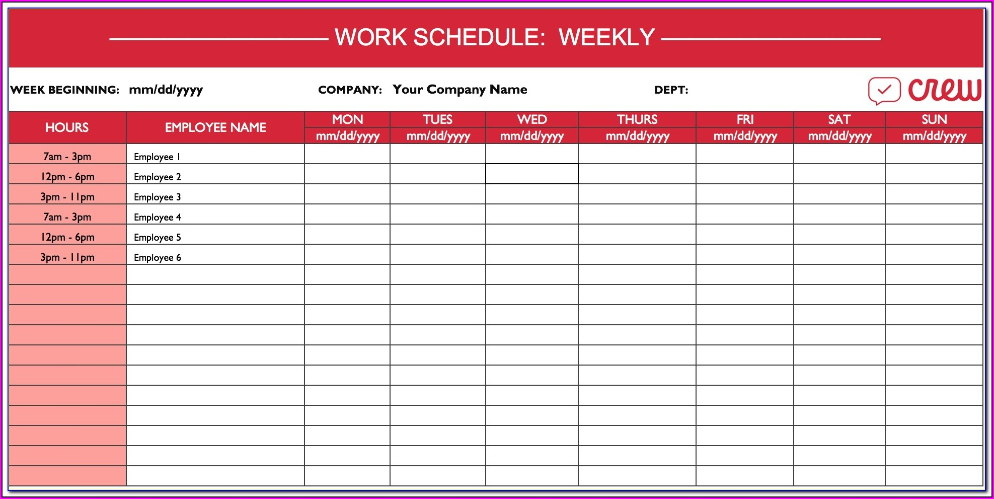 Weekly Employee Work Schedule Template Excel