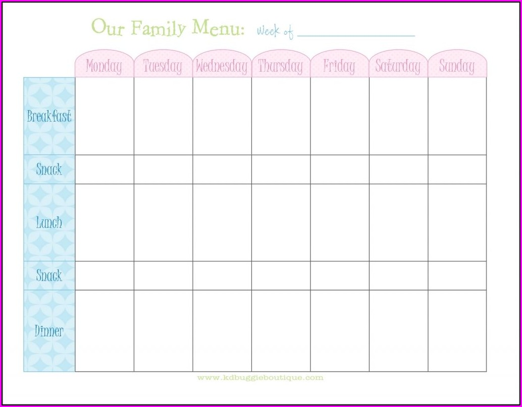 Weekly Meal And Exercise Planner Template