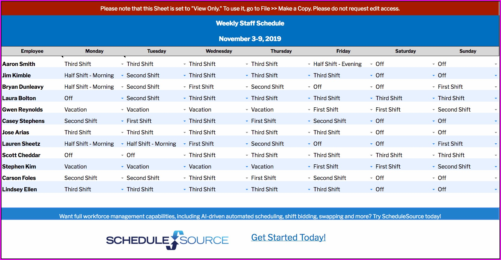 Weekly Staff Schedule Template Free