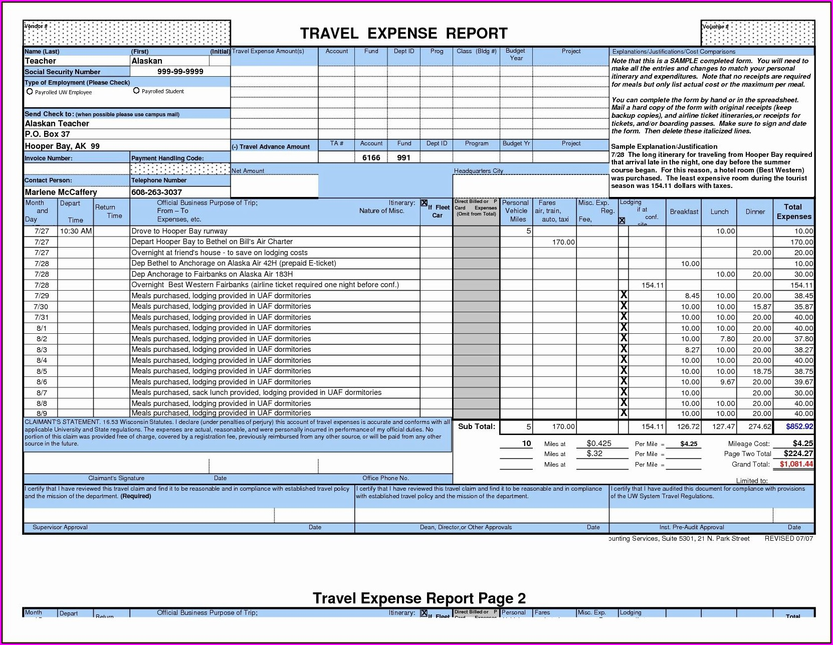 Weekly Travel Expense Report Template