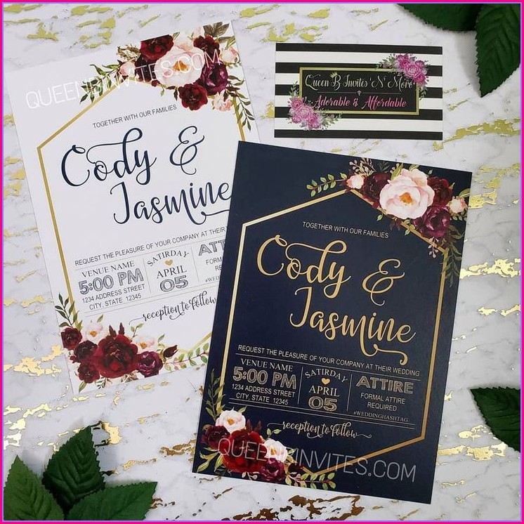 Wine And Navy Wedding Invitations