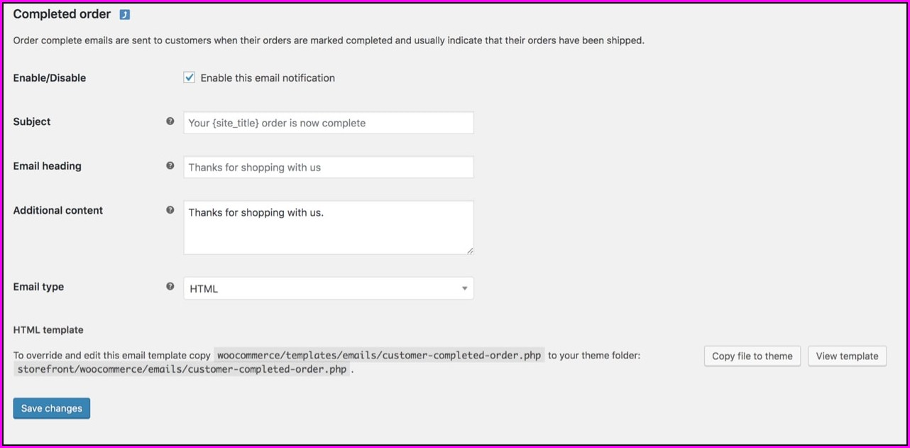 Woocommerce Email Templates Change